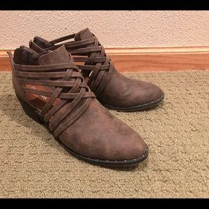 Maurices Brown Strappy Ankle Booties Size 8